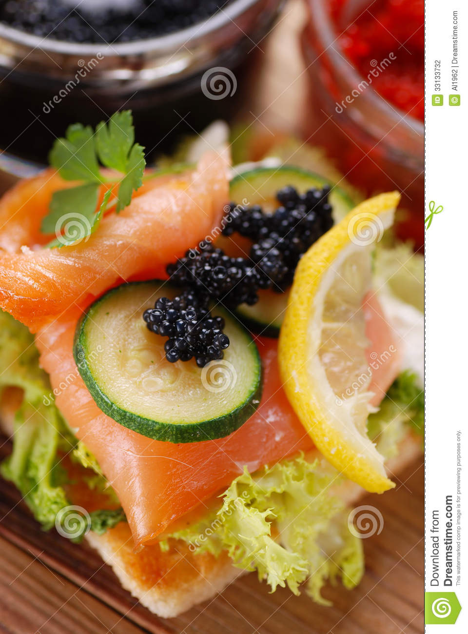 Canapes with salmon and caviar for Canape with caviar