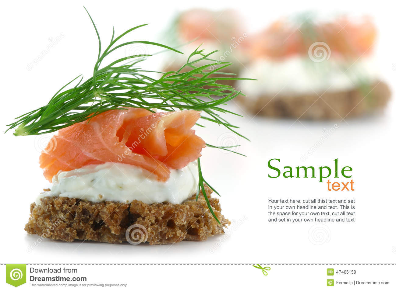 Canapes with salmon on cream and dill garnish isolated on for Canape garnishes