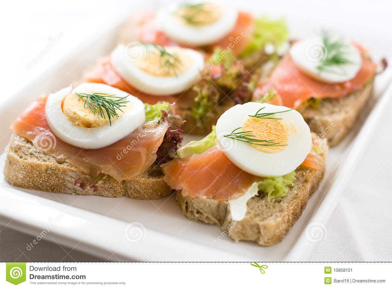 Canapes With Smoked Salmon Stock Image - Image: 10858101