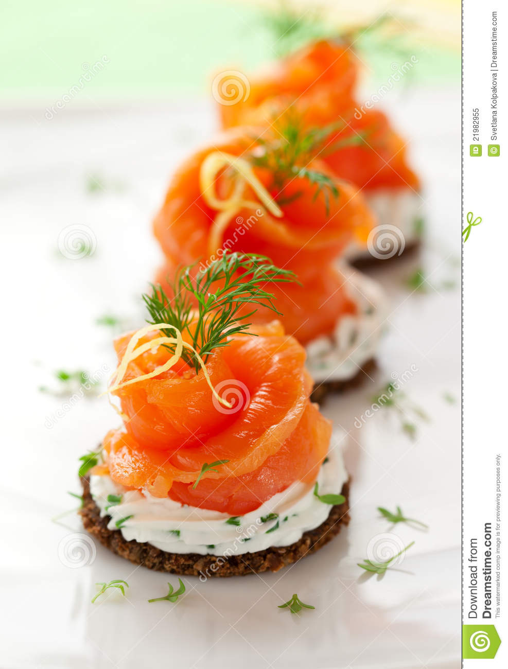 Canapes with smoked salmon stock image image of cheese for Salmon canape ideas