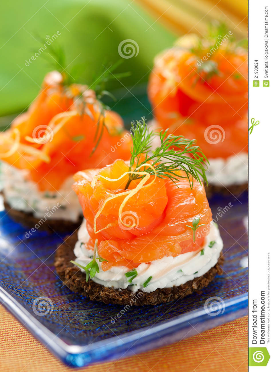 Canapes with smoked salmon stock images image 21983024 for Smoked salmon cream cheese canape