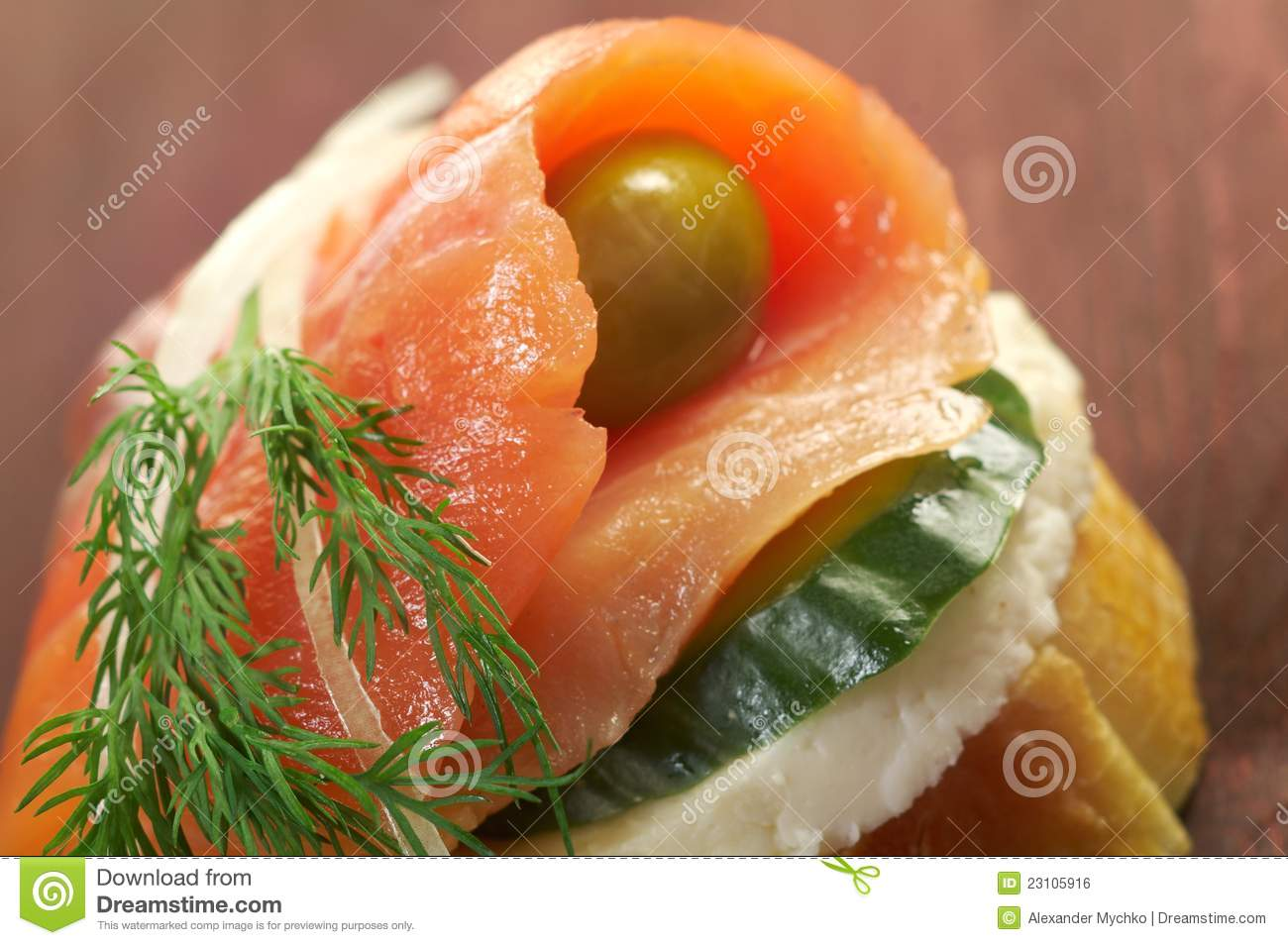 Canapes With Smoked Salmon Royalty Free Stock Image - Image: 23105916