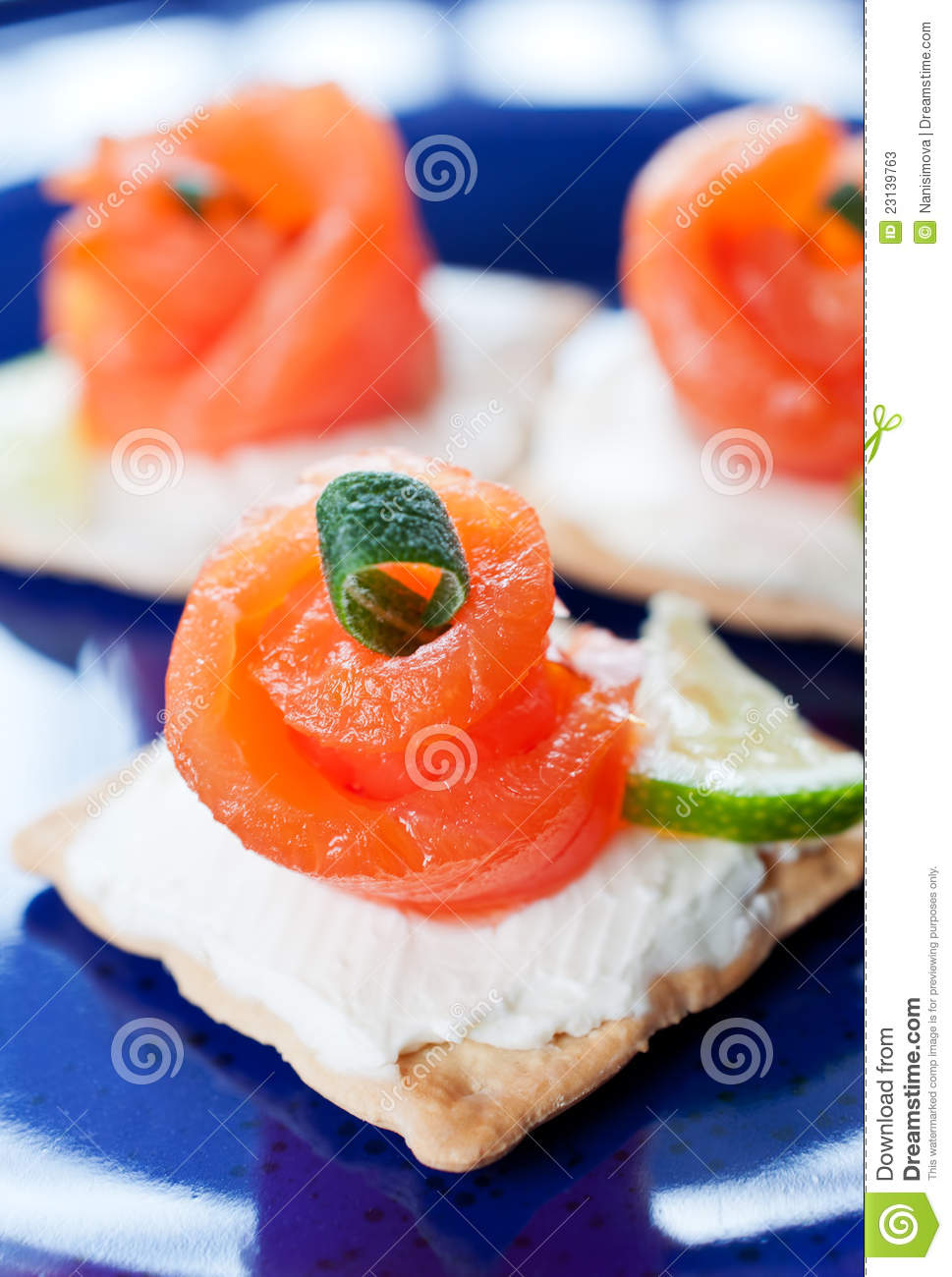 Canapes with smoked salmon and cream cheese stock photos for Smoked salmon cream cheese canape