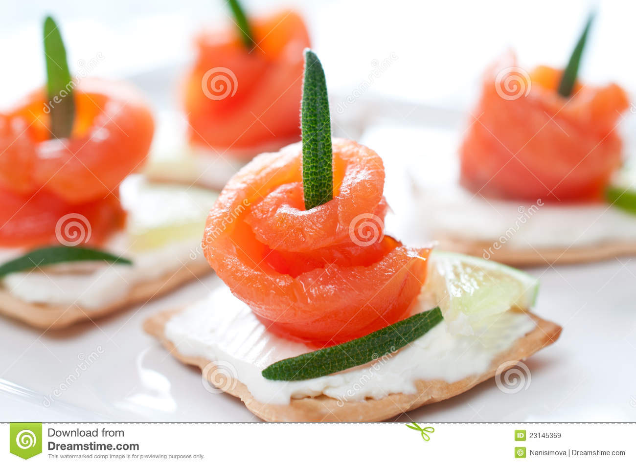 Canapes with smoked salmon and cream cheese royalty free for Smoked salmon cream cheese canape