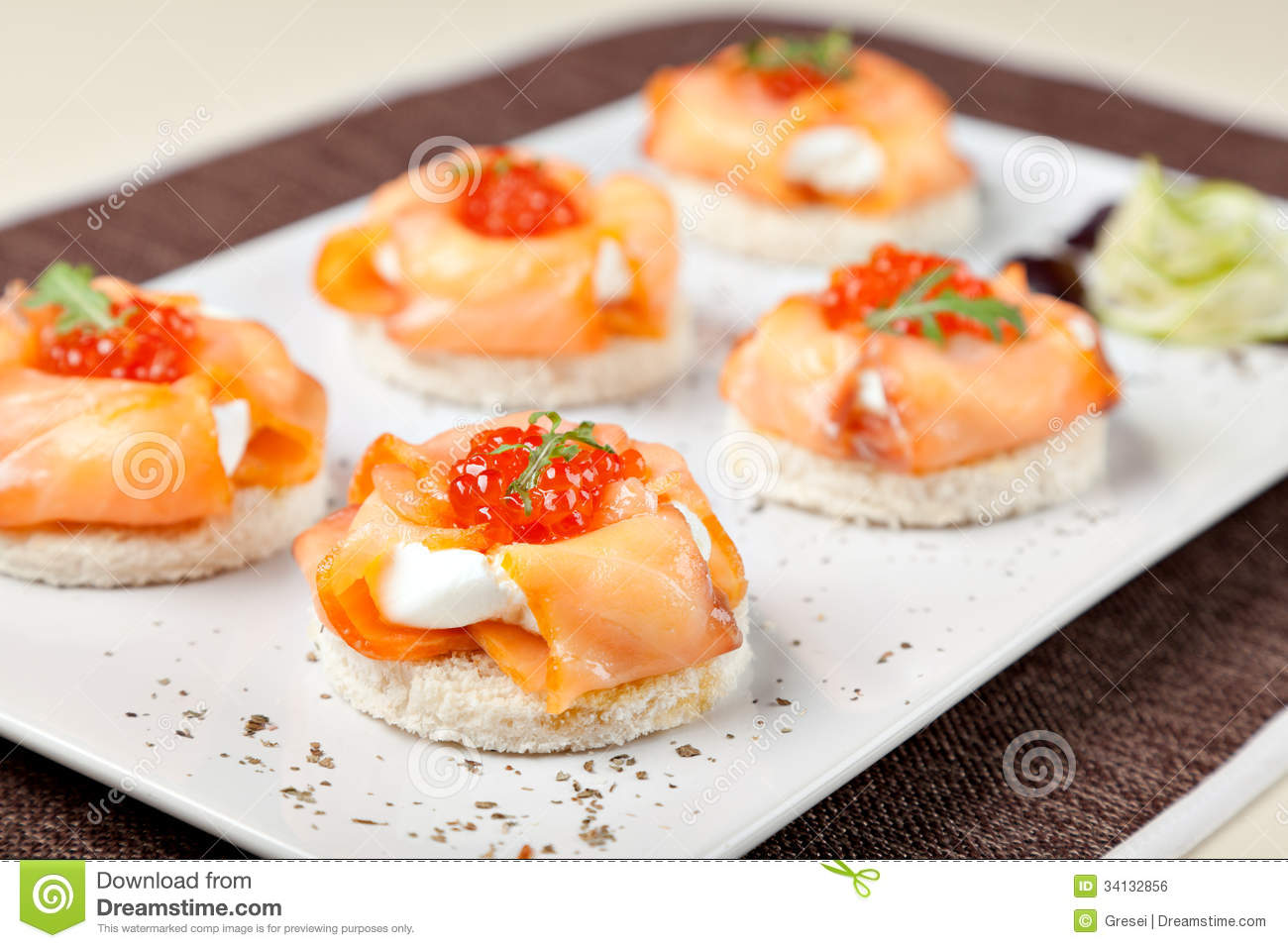 Canapes with smoked salmon royalty free stock image for Cream cheese canape
