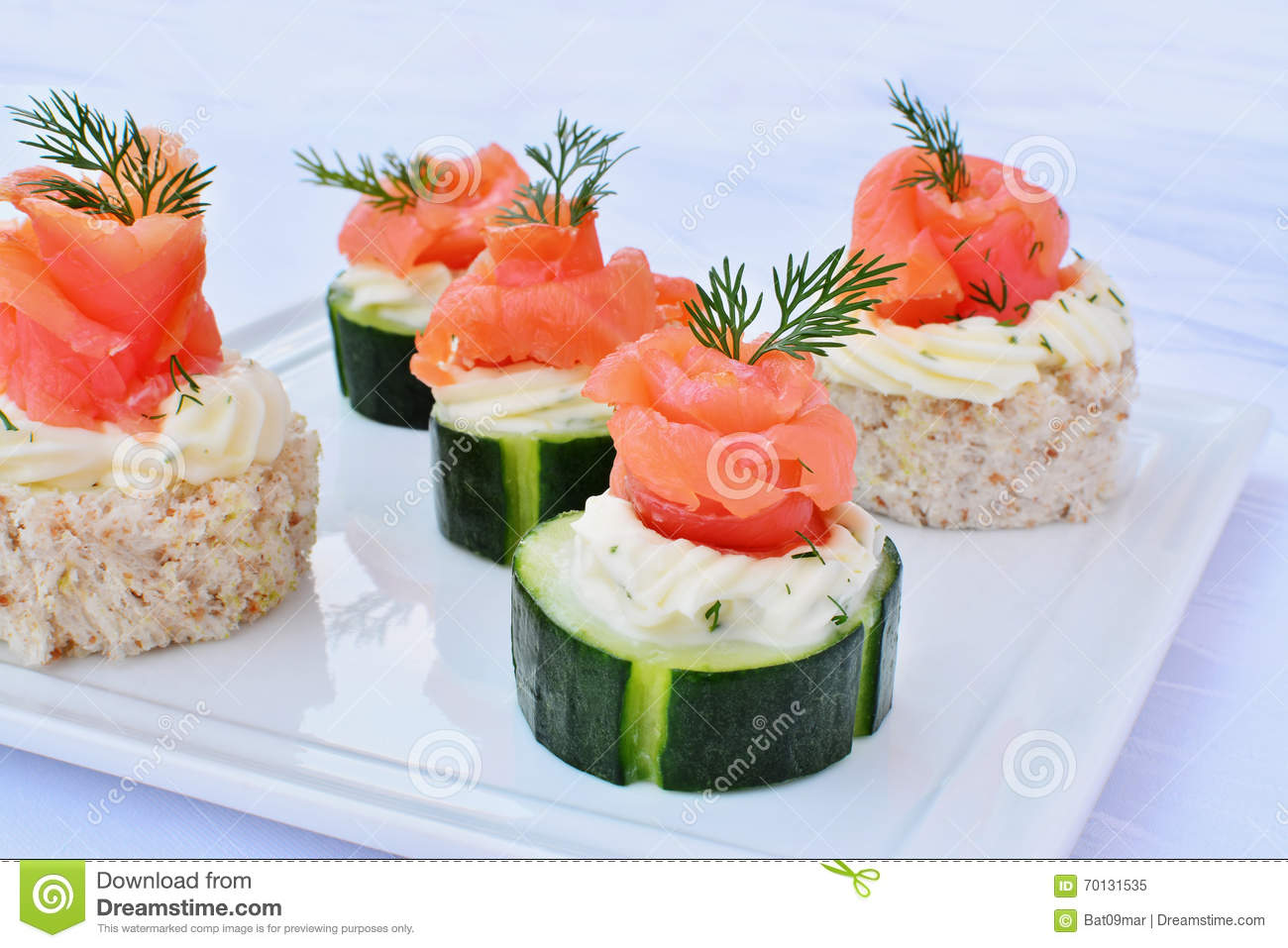Smoked salmon canapes with cream cheese stock image for Canape with cheese