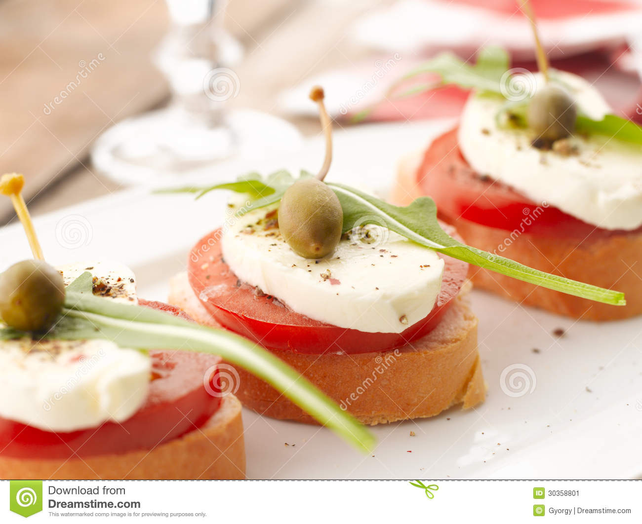 canapes with tomatoes and mozzarella stock image image