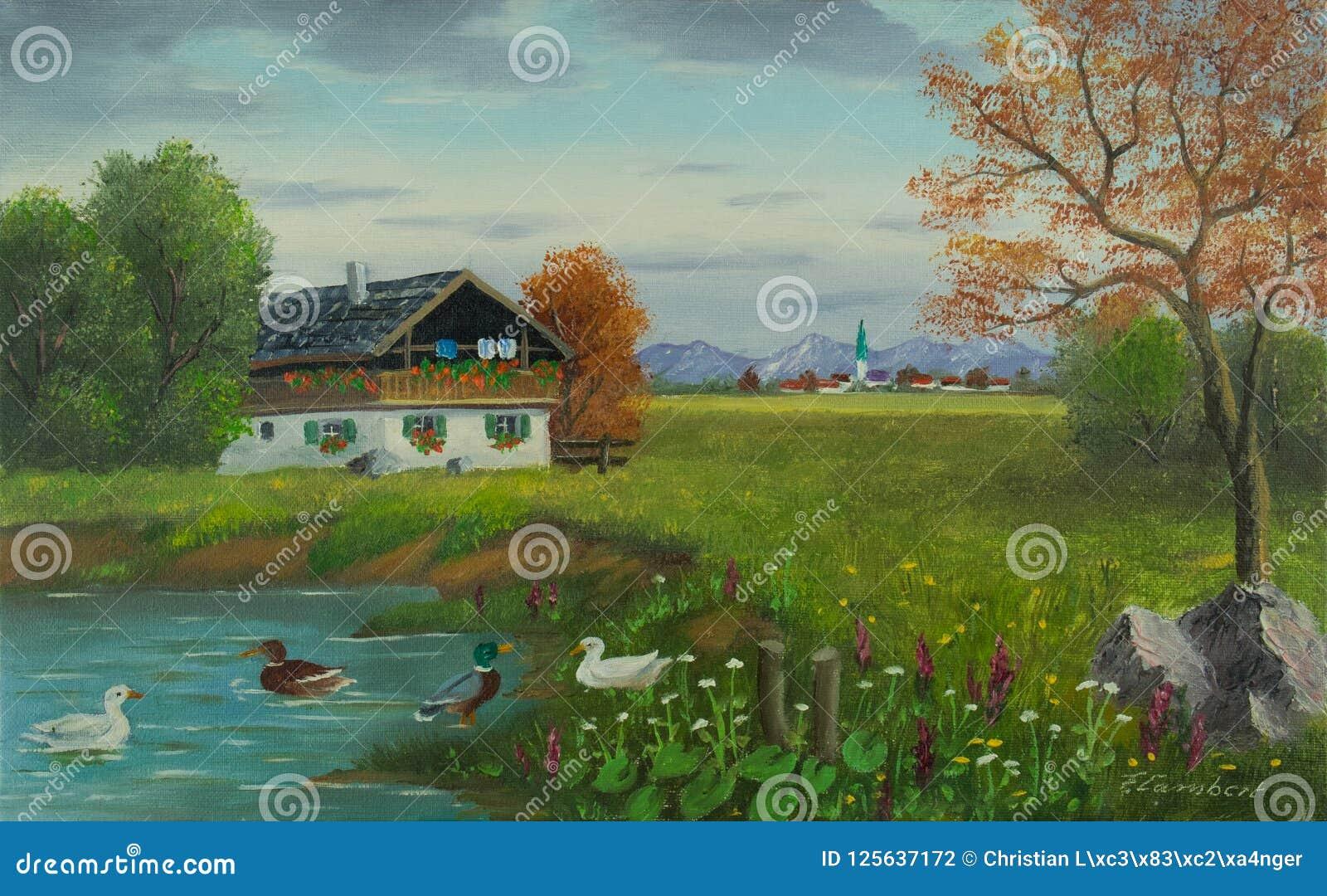 Canards par l étang avec une maison devant un village