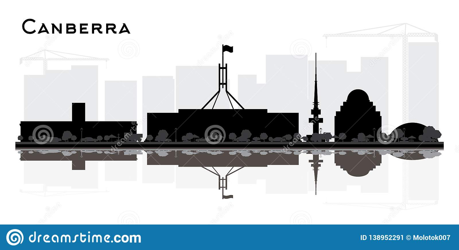 Canberra Australia City Skyline Silhouette with Black Buildings and Reflections Isolated on White