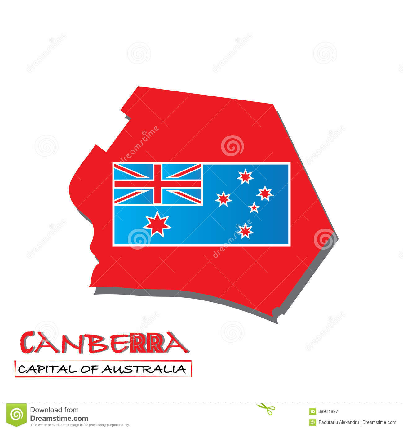 Australia Map Canberra.Canberra Capital Of Australia Map Vector Illustration Flag Of