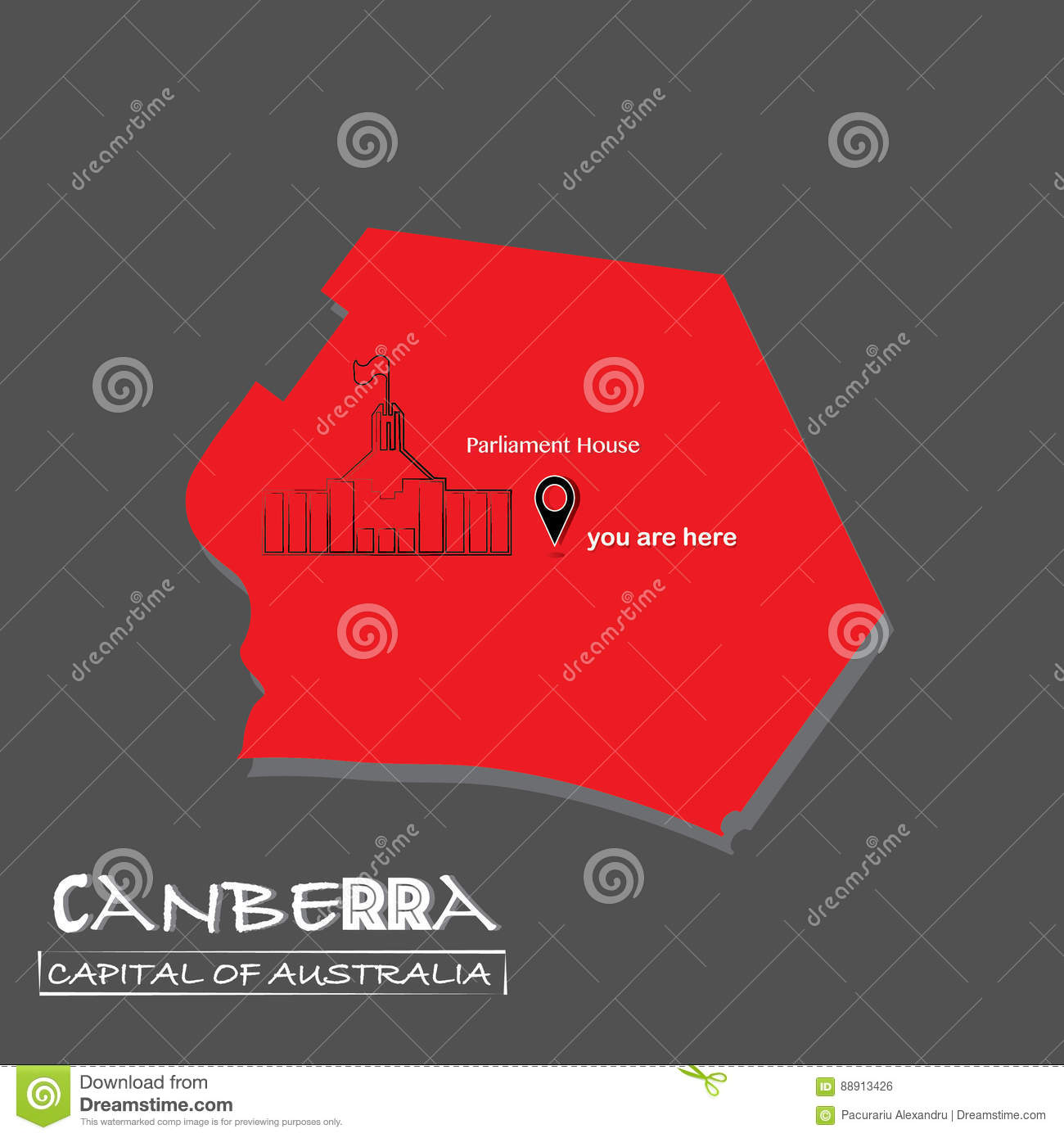 Canberra-Capital of Australia map Vector illustration-You are Here-Parliament building, isolated 3d look political map