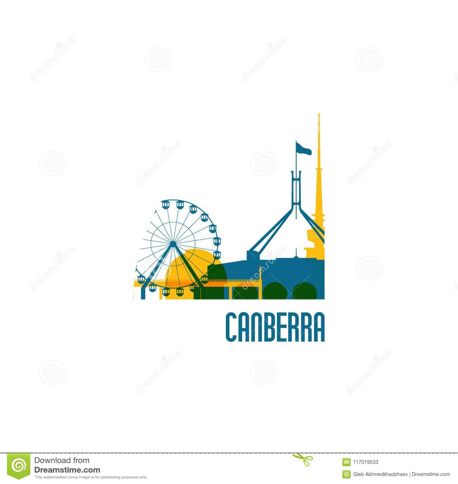 Canberra city emblem. Colorful buildings.