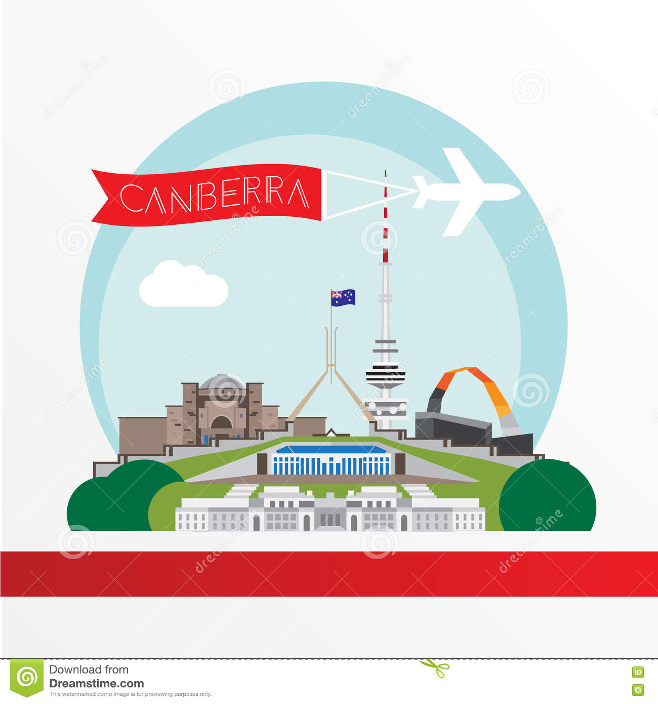 Canberra detailed silhouette. Trendy vector illustration, flat style. Stylish colorful landmarks.
