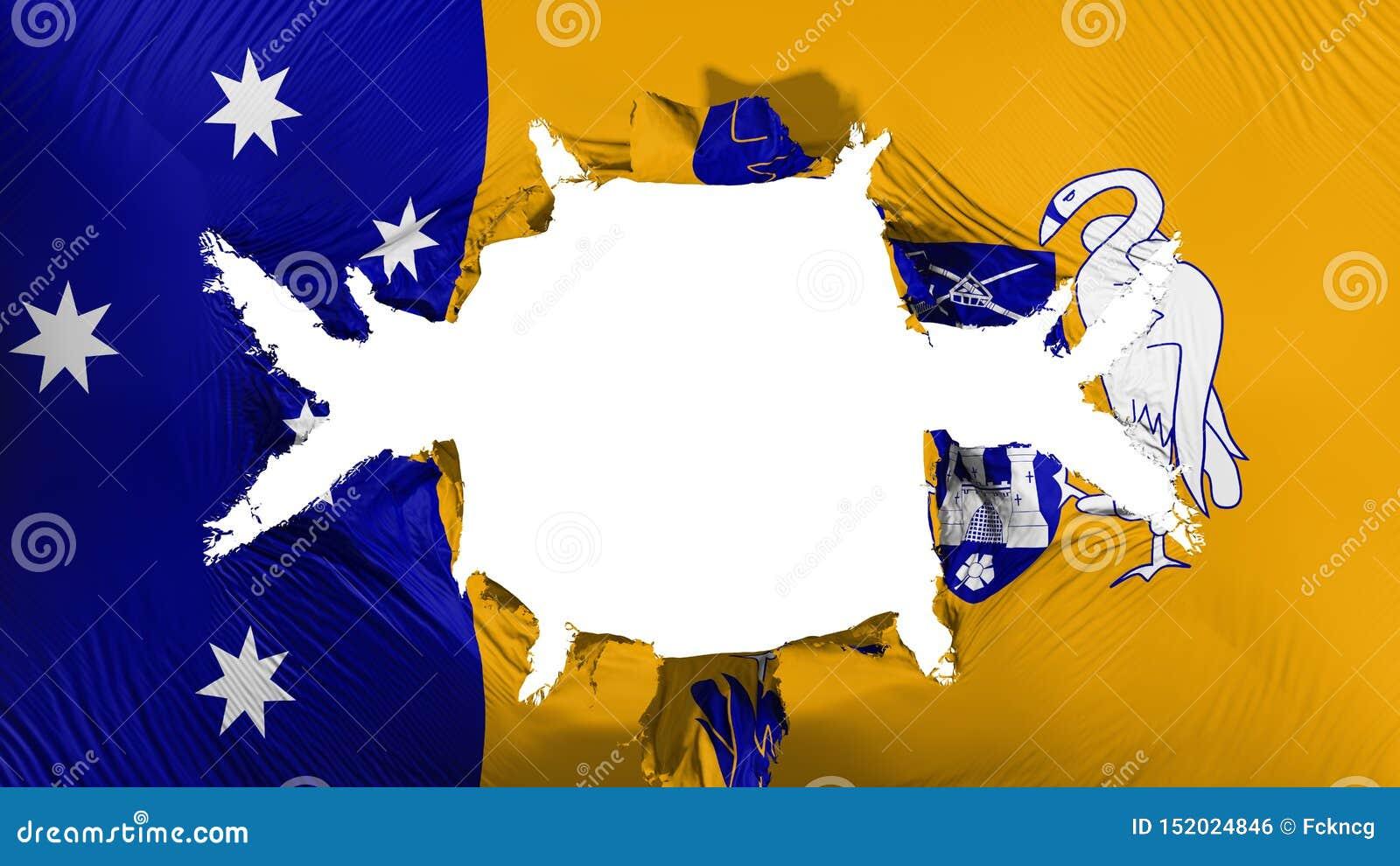 Canberra flagga med ett stort hål