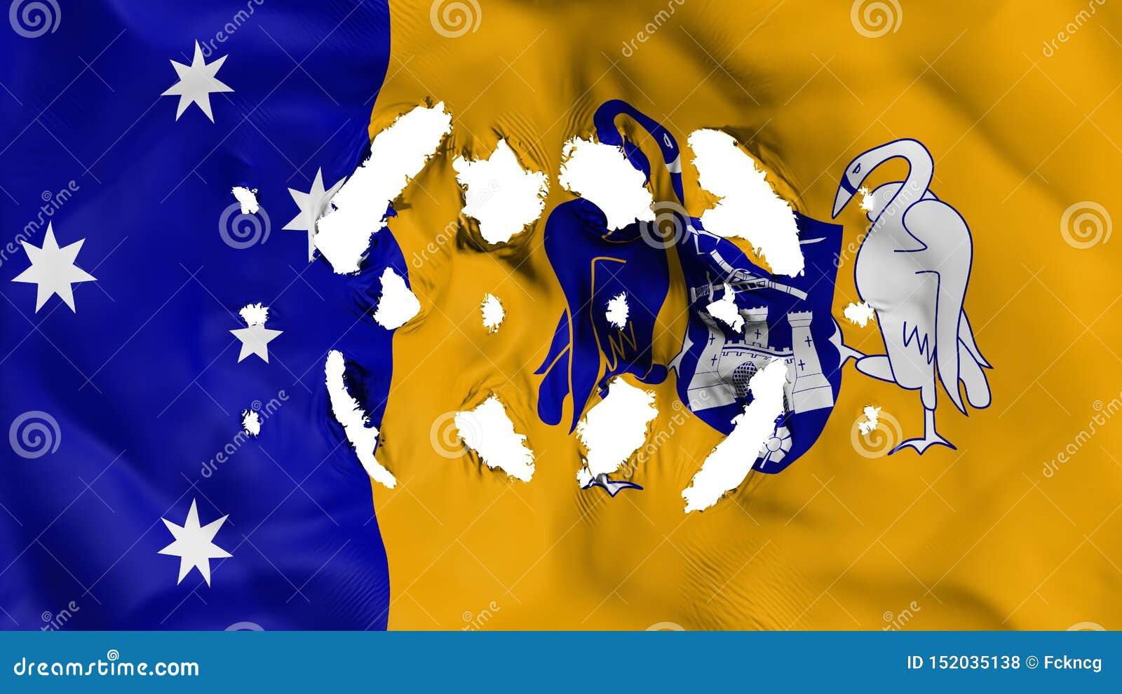 Canberra flagga med små hål