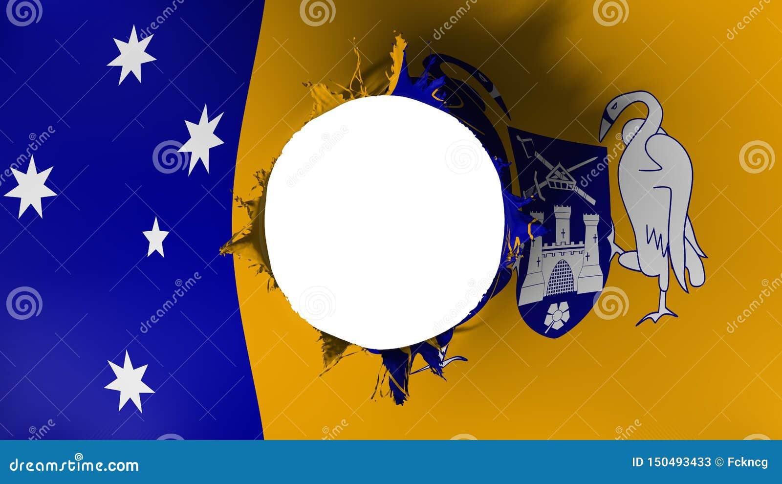 Canberra flagga som ifrån varandra rivas sönder