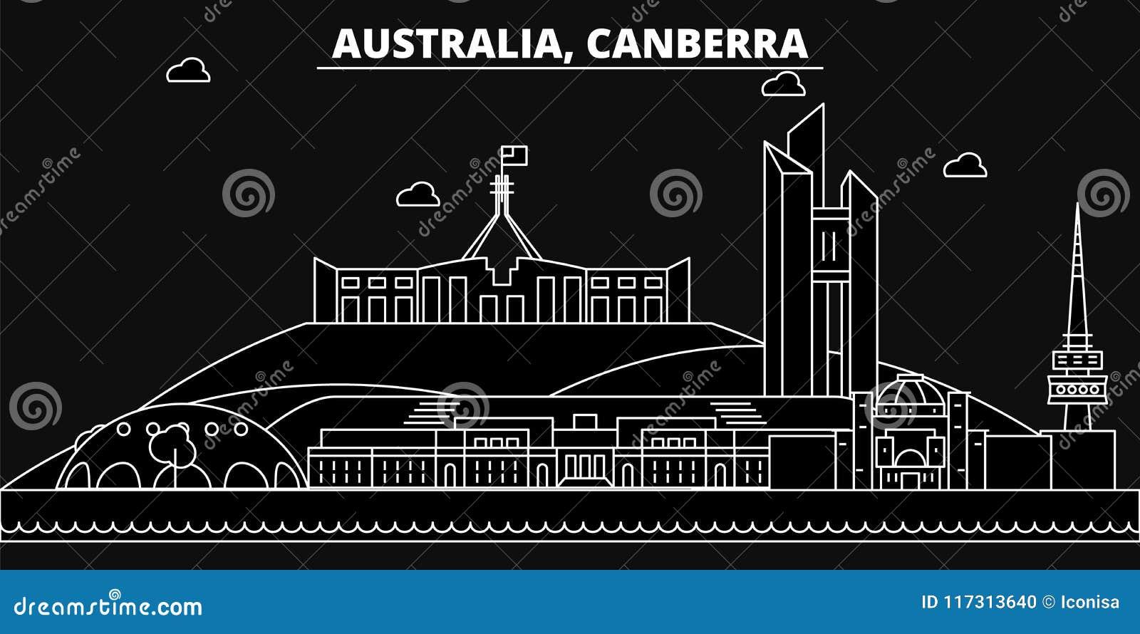 Canberra konturhorisont Australien - Canberra vektorstad, australisk linjär arkitektur, byggnader canberra
