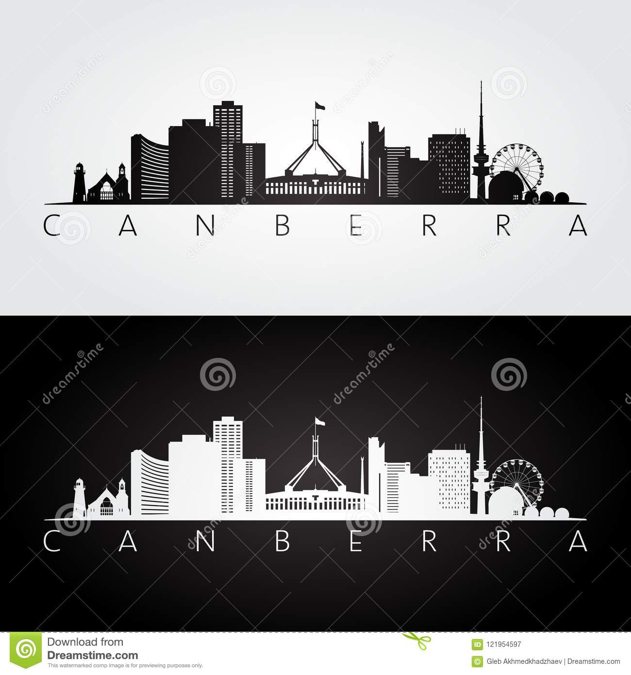Canberra skyline and landmarks silhouette