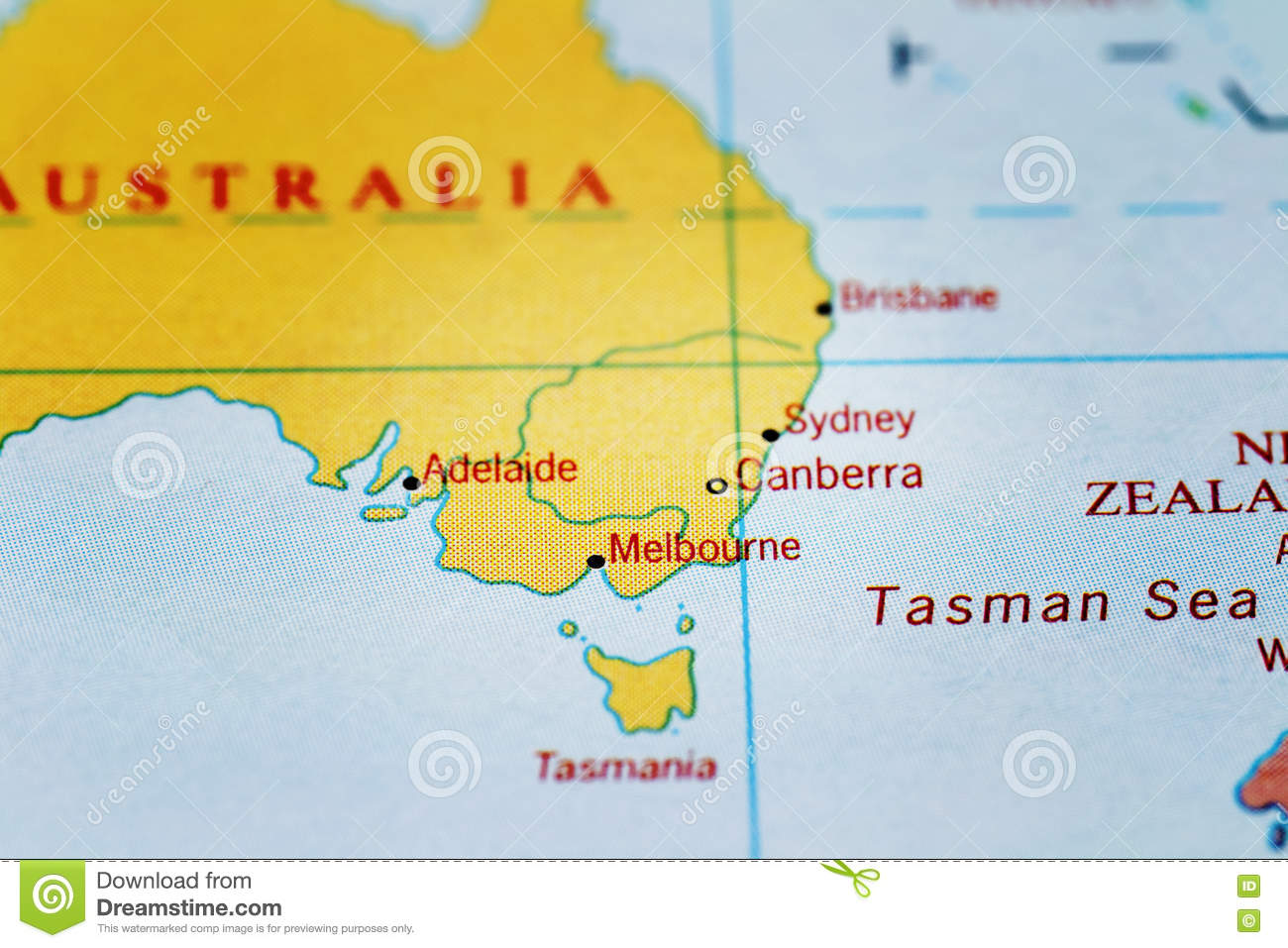 Australia Map Melbourne.Canberra Sydney Melbourne Adelaide And Australia On Map Stock