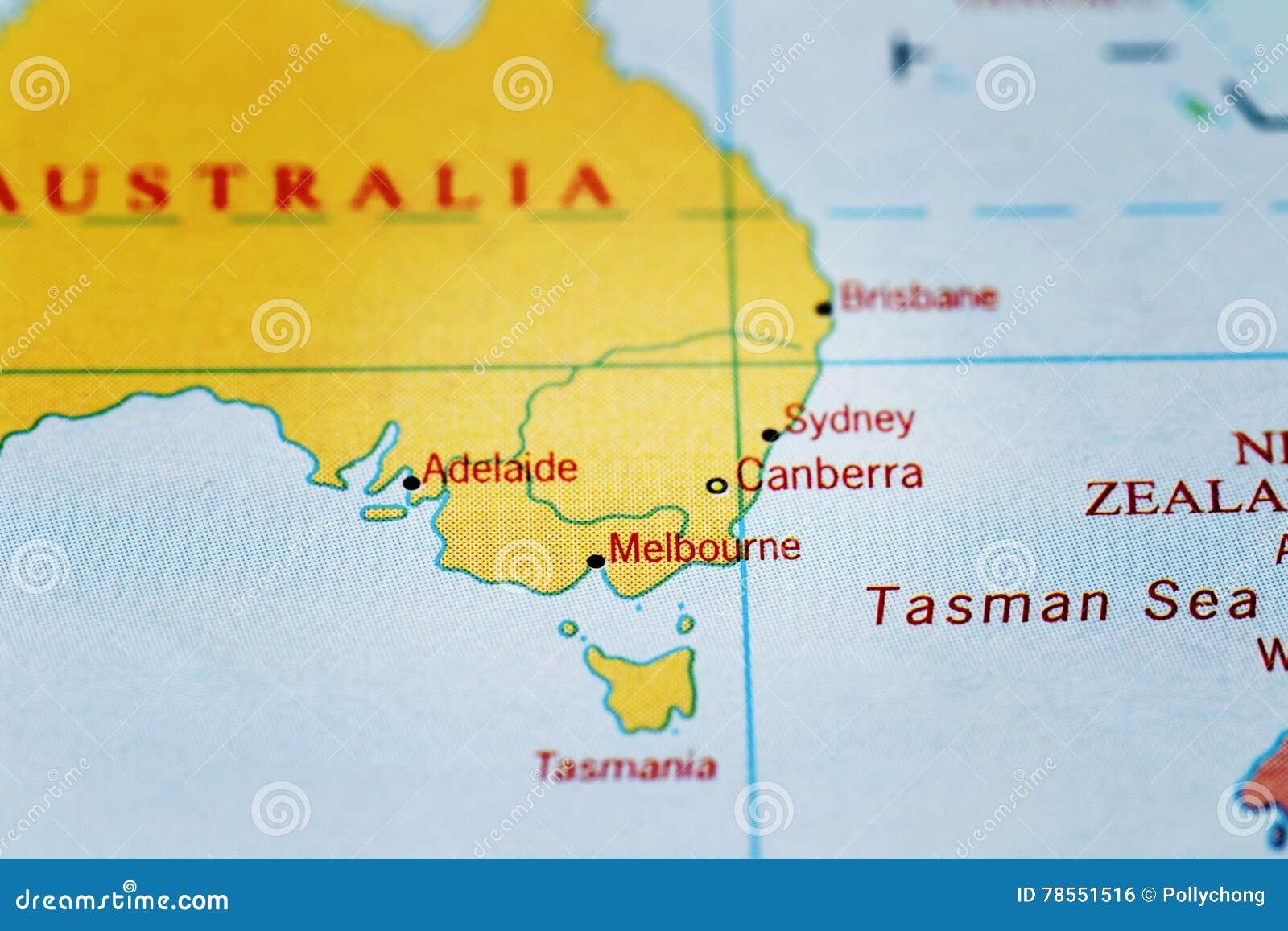 Canberra Sydney Melbourne Adelaide Und Australien Auf Karte
