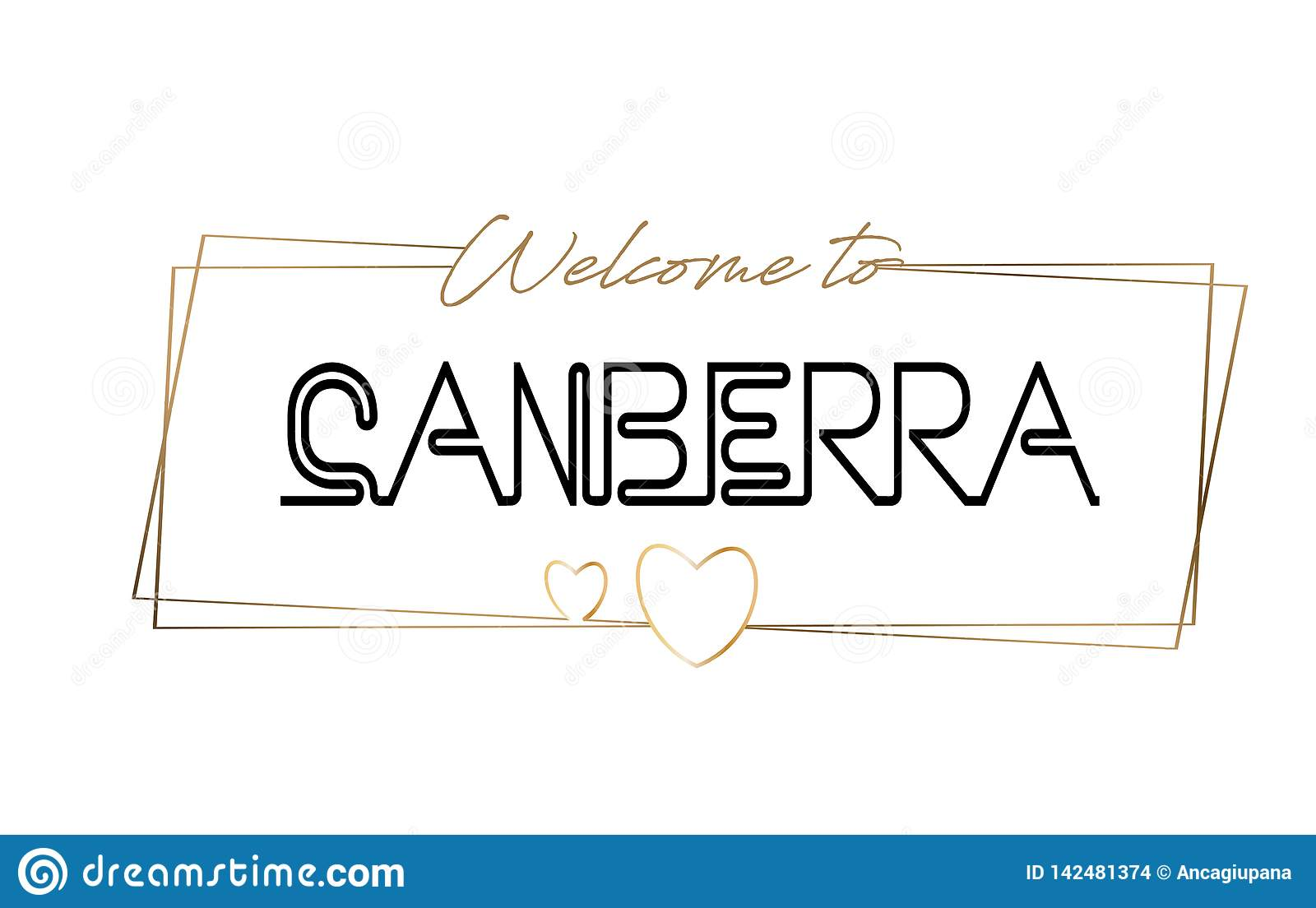 Canberra  Welcome to text Neon lettering typography. Word for logotype, badge, icon, postcard, logo, banner Vector Illustration