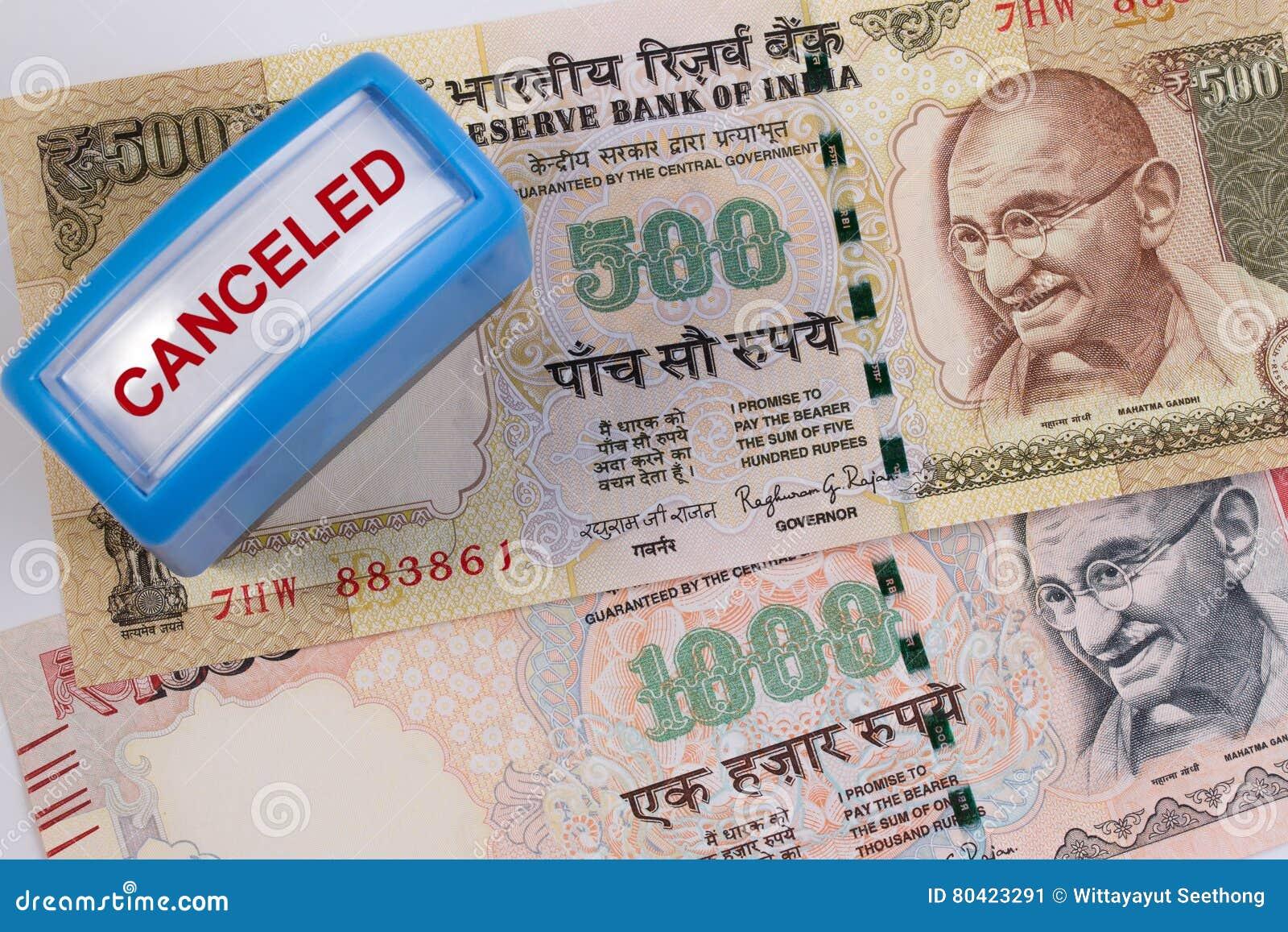 Canceled banknote concept. Mahatma Gandhi on Indian 500, 1000 rupee banknote canceled.