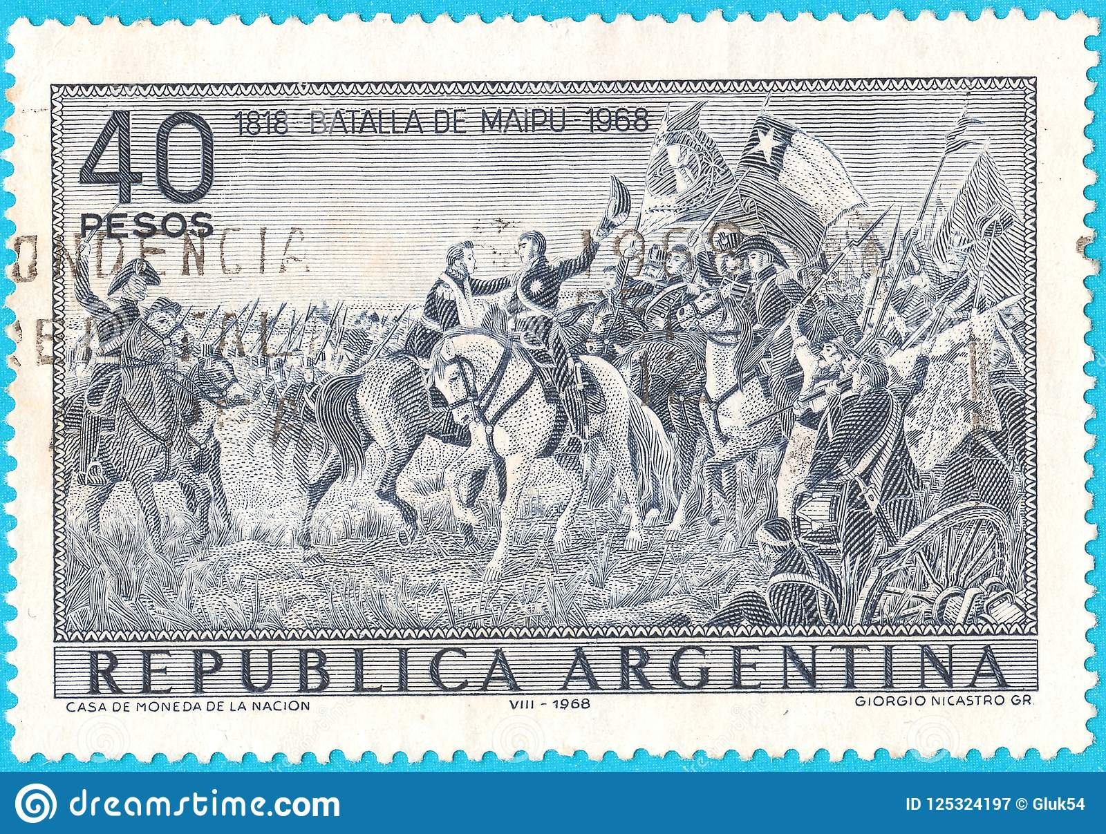 Canceled postage stamp depicting Battle of Maipu near Santiago, Chile on April 5, 1818 between South American rebels and Spanish r