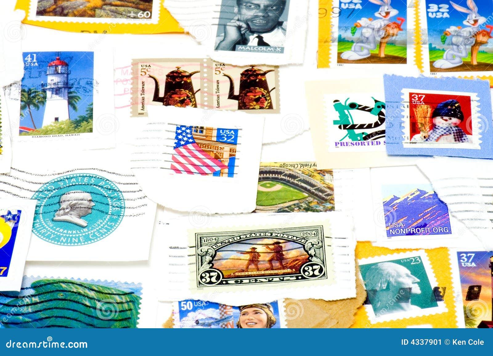 Canceled US postage stamps