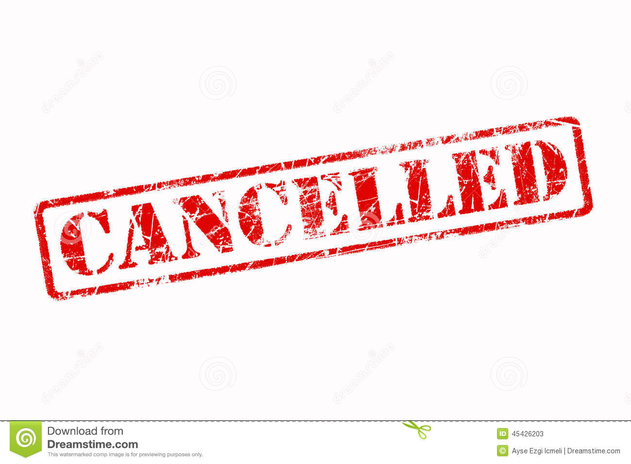 Cancelled Rubber Stamp Red