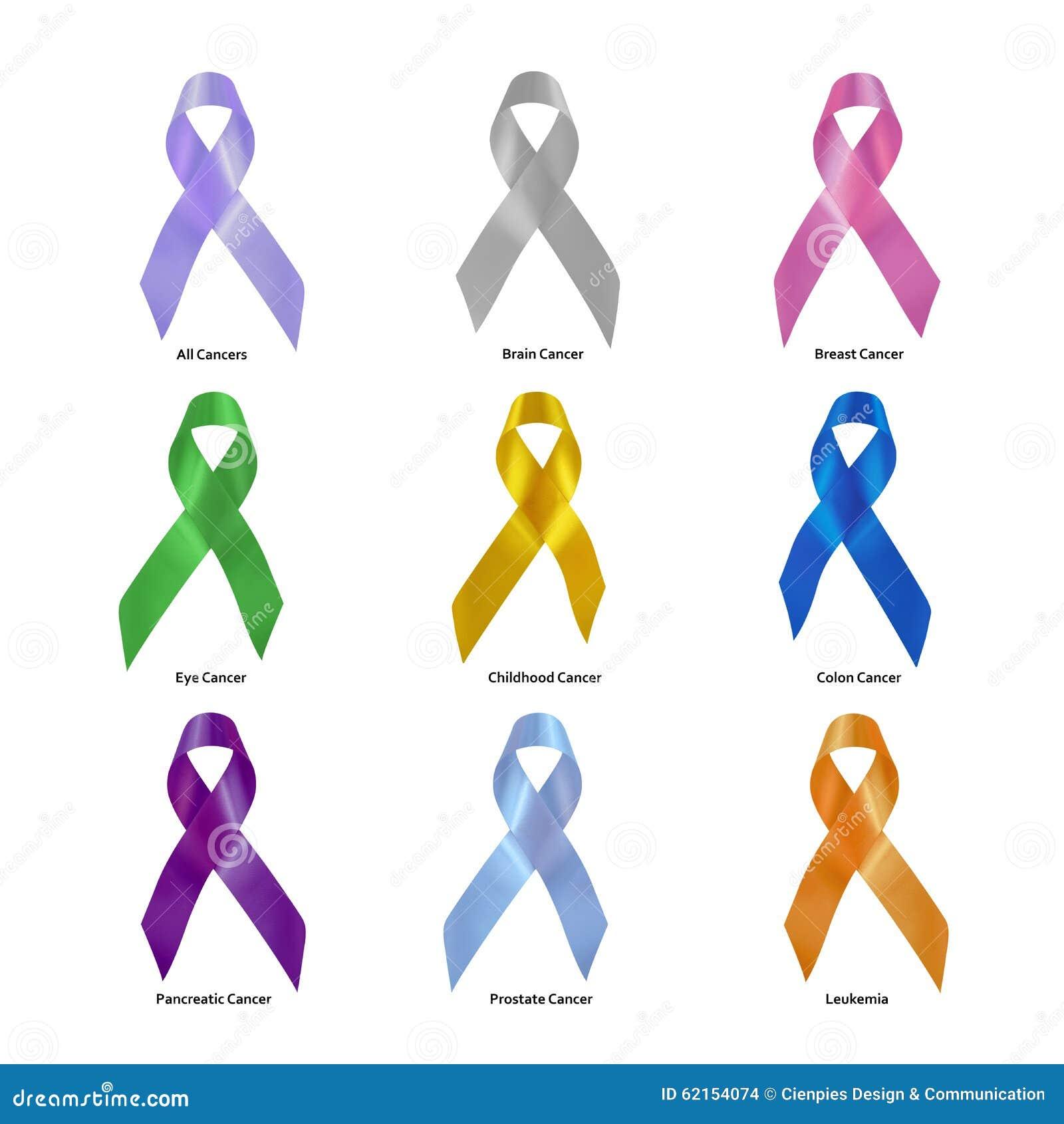 Cancer Awareness Ribbon Set Clipping Path Stock Photo