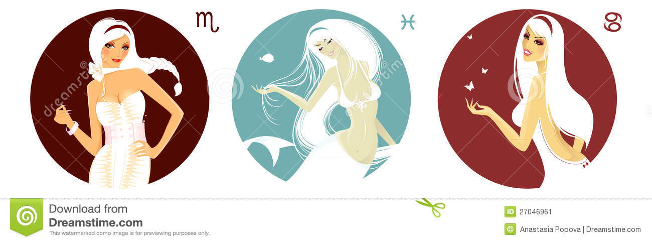 Cancer, Scorpio and Pisces stock vector  Illustration of fashion