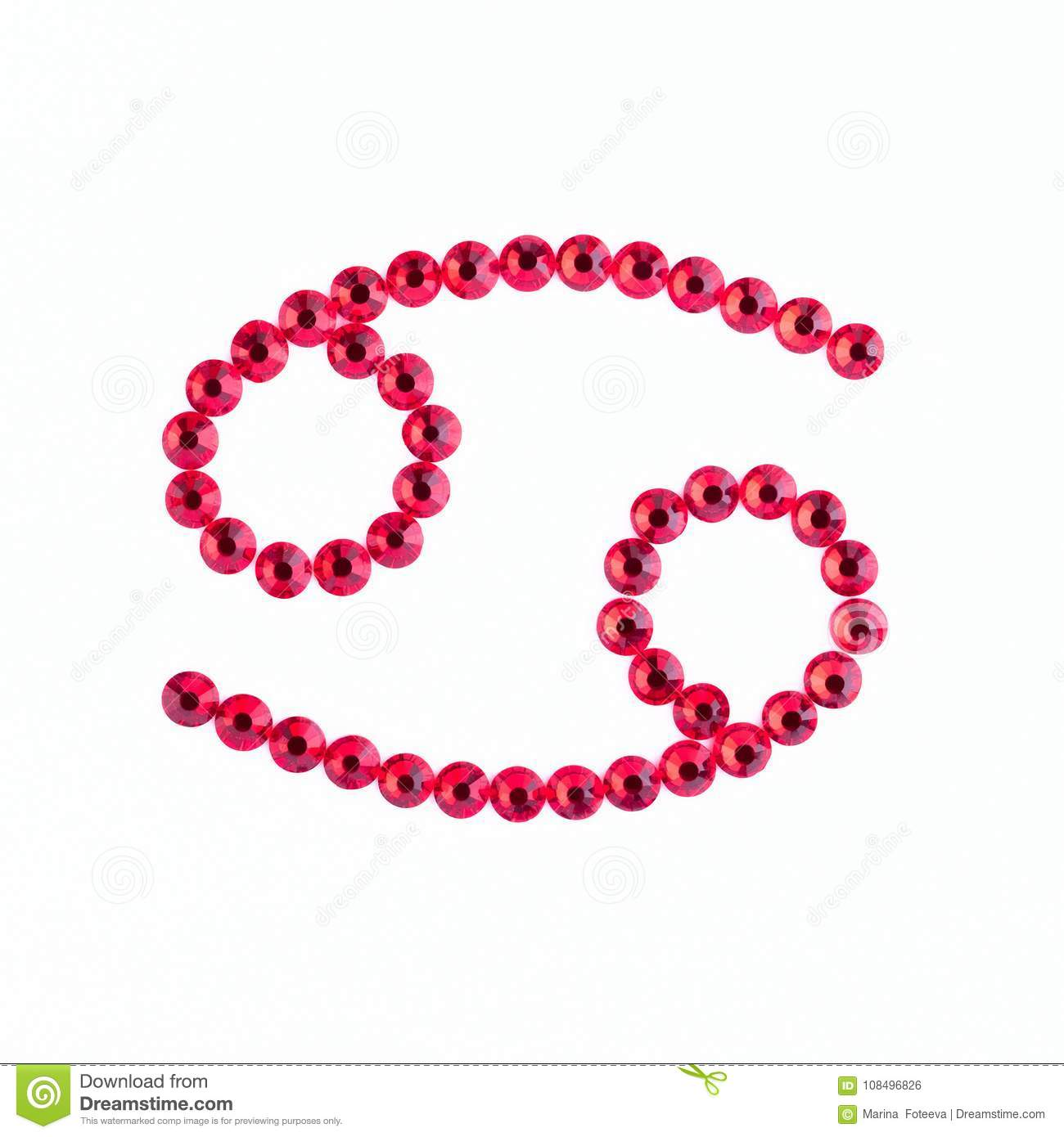 Cancer. Sign of the zodiac of red rhinestones on a white background.