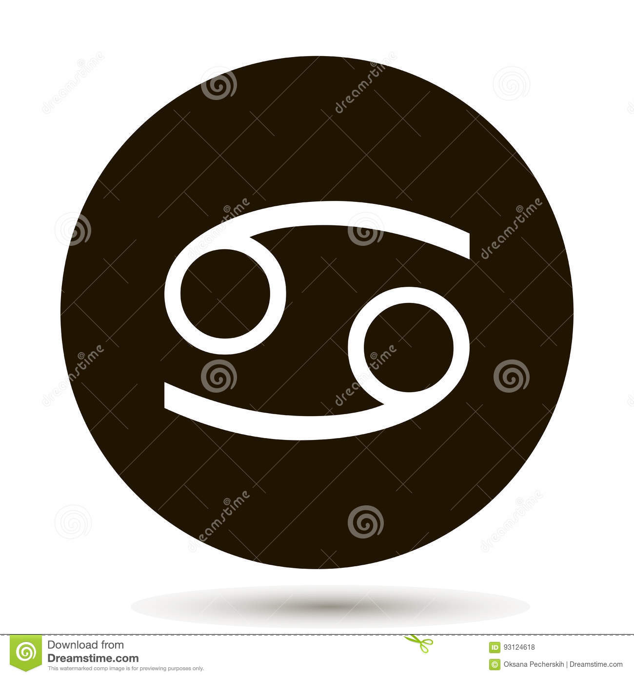 Cancer Zodiac Sign Astrological Symbol Icon In Circle Stock Vector