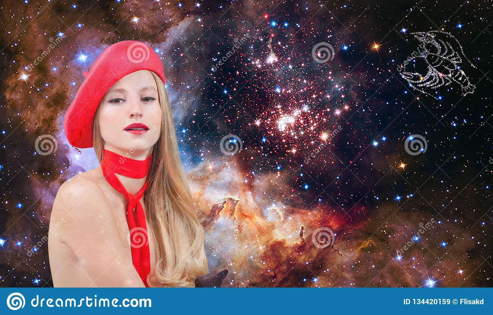 Cancer Zodiac Sign. Astrology and horoscope, Beautiful woman Cancer on the galaxy background