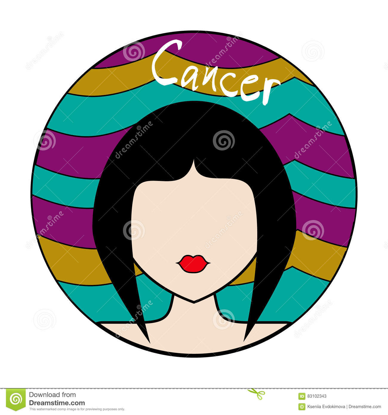 Cancer Zodiac Sign Female Avatar Stock Vector Illustration Of