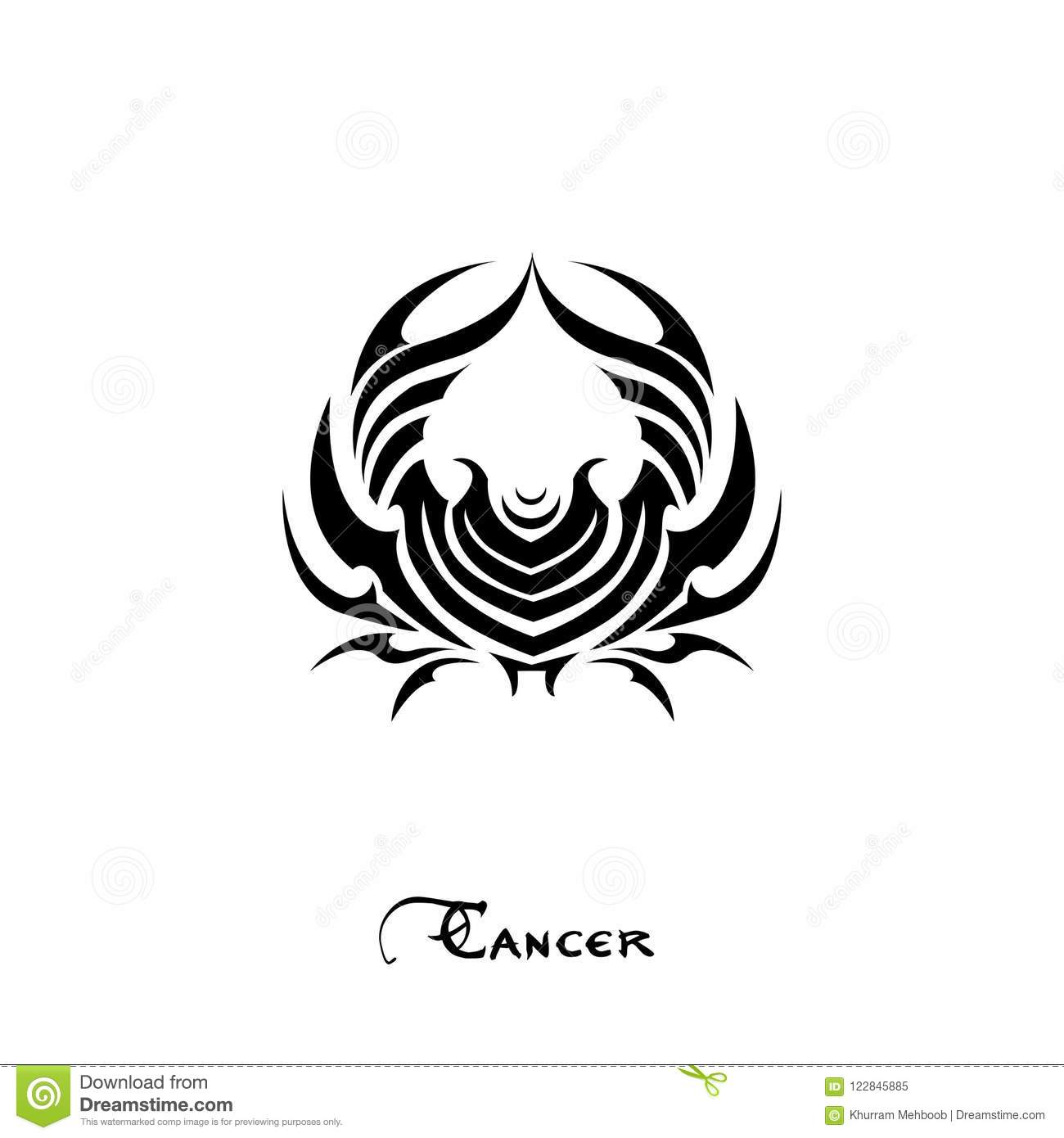 Cancer Zodiac Sign Tattoo Style Stock Illustration