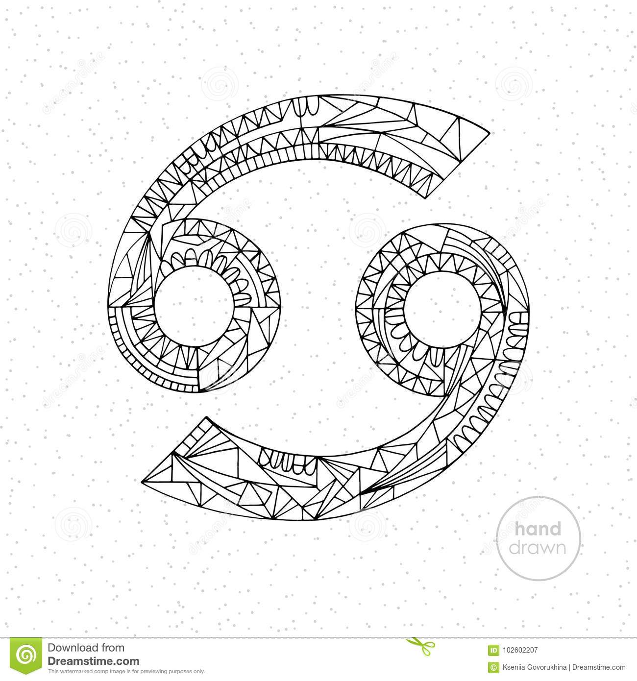 Cancer Zodiac Sign Vector Hand Drawn Horoscope Illustration Astrological Coloring Page Stock Vector Illustration Of Design Lunar 102602207