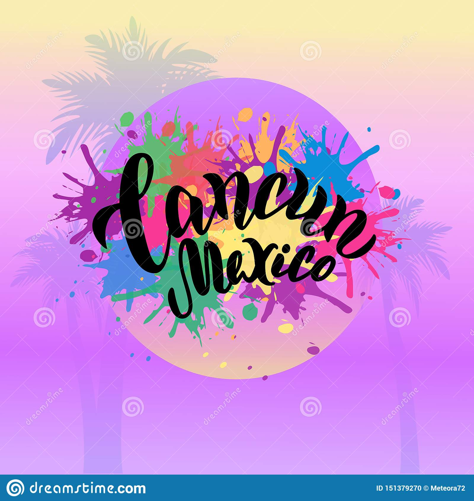 Cancun Mexico Colorful Poster Trendy Lettering Typography Text Beach Party Banner Print Design Stock Vector Illustration Of Graphic Colorful 151379270