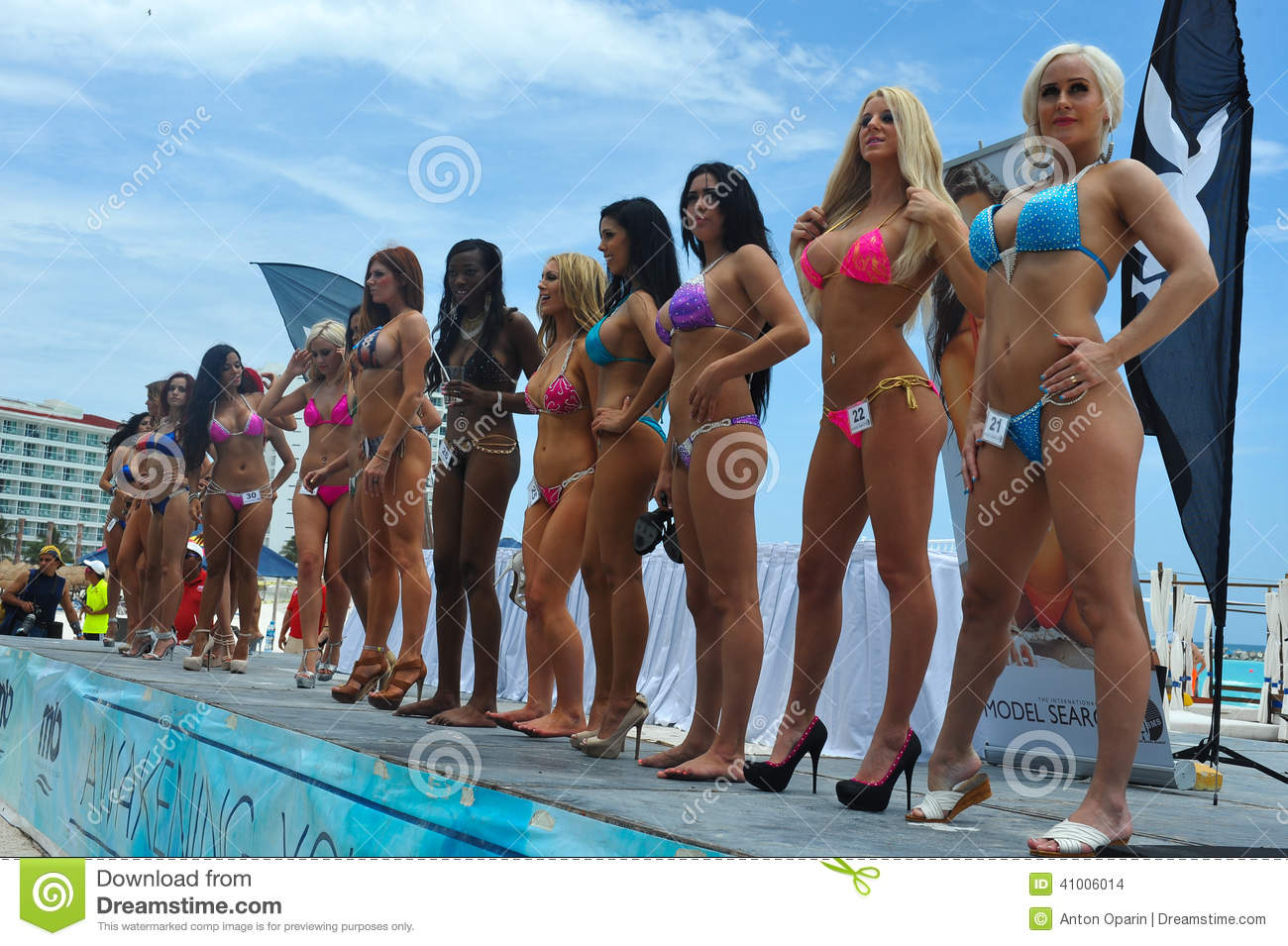 CANCUN, MEXICO - MAY 03: Models lineup on stage during semi-finals IBMS 2014