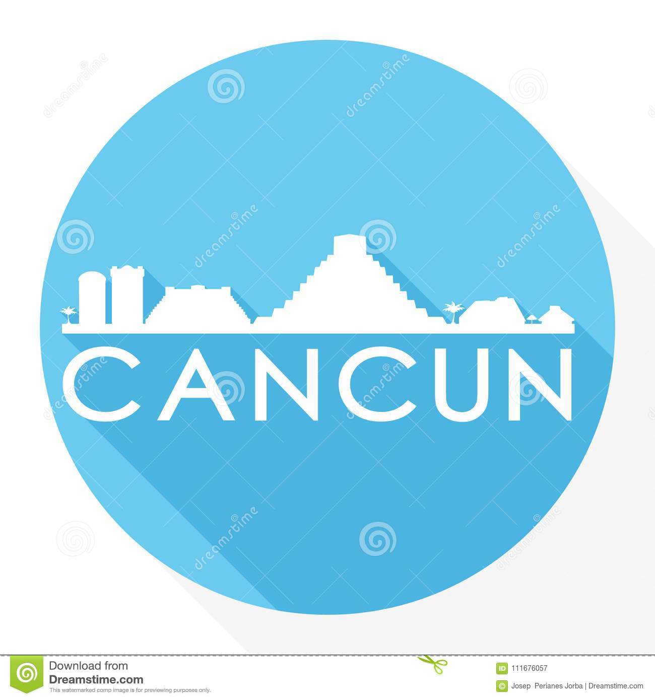 Cancun Mexico Round Icon Vector Art Flat Shadow Design Skyline City