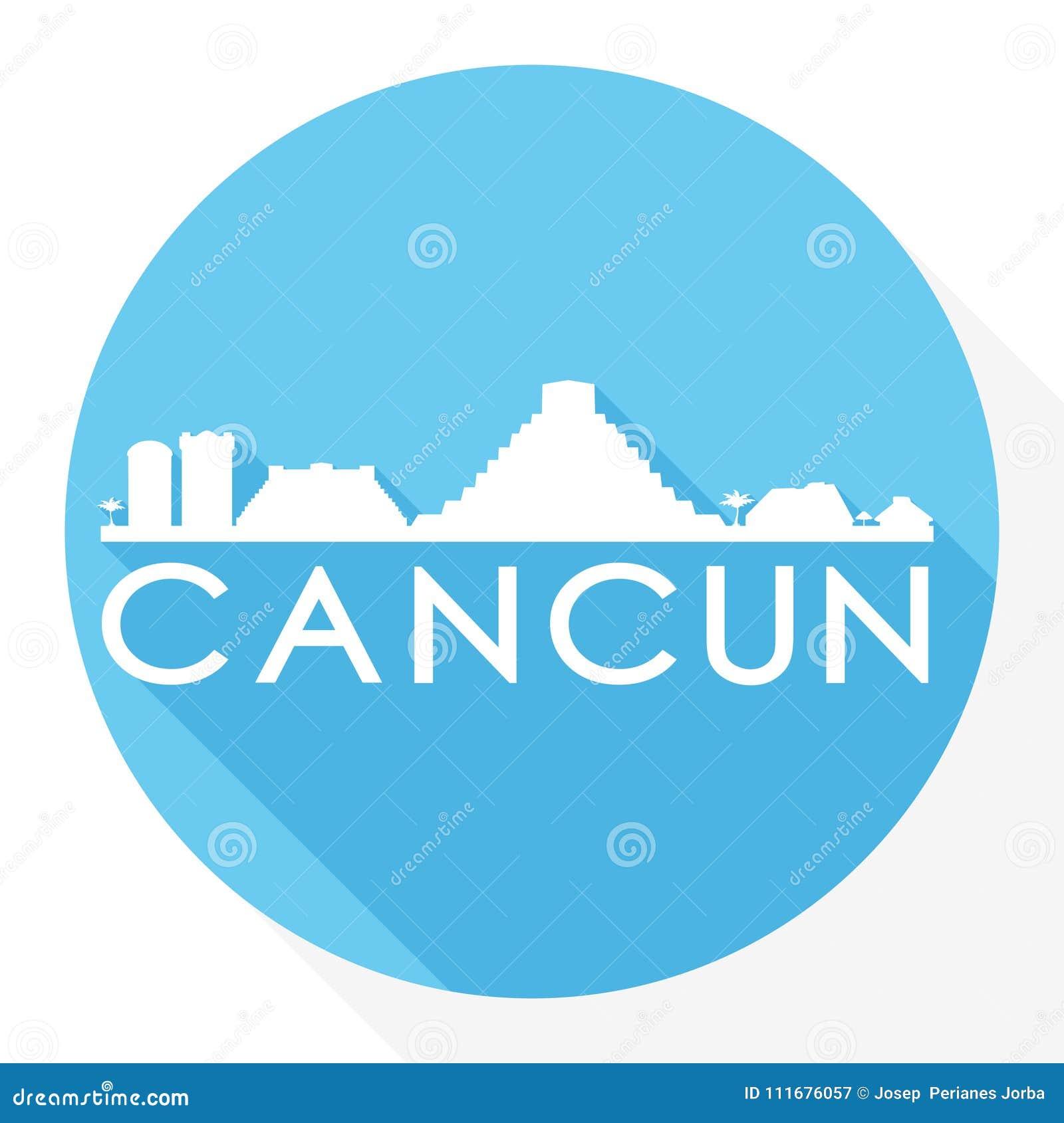 Cancun Mexico Round Icon Vector Art Flat Shadow Design Skyline City