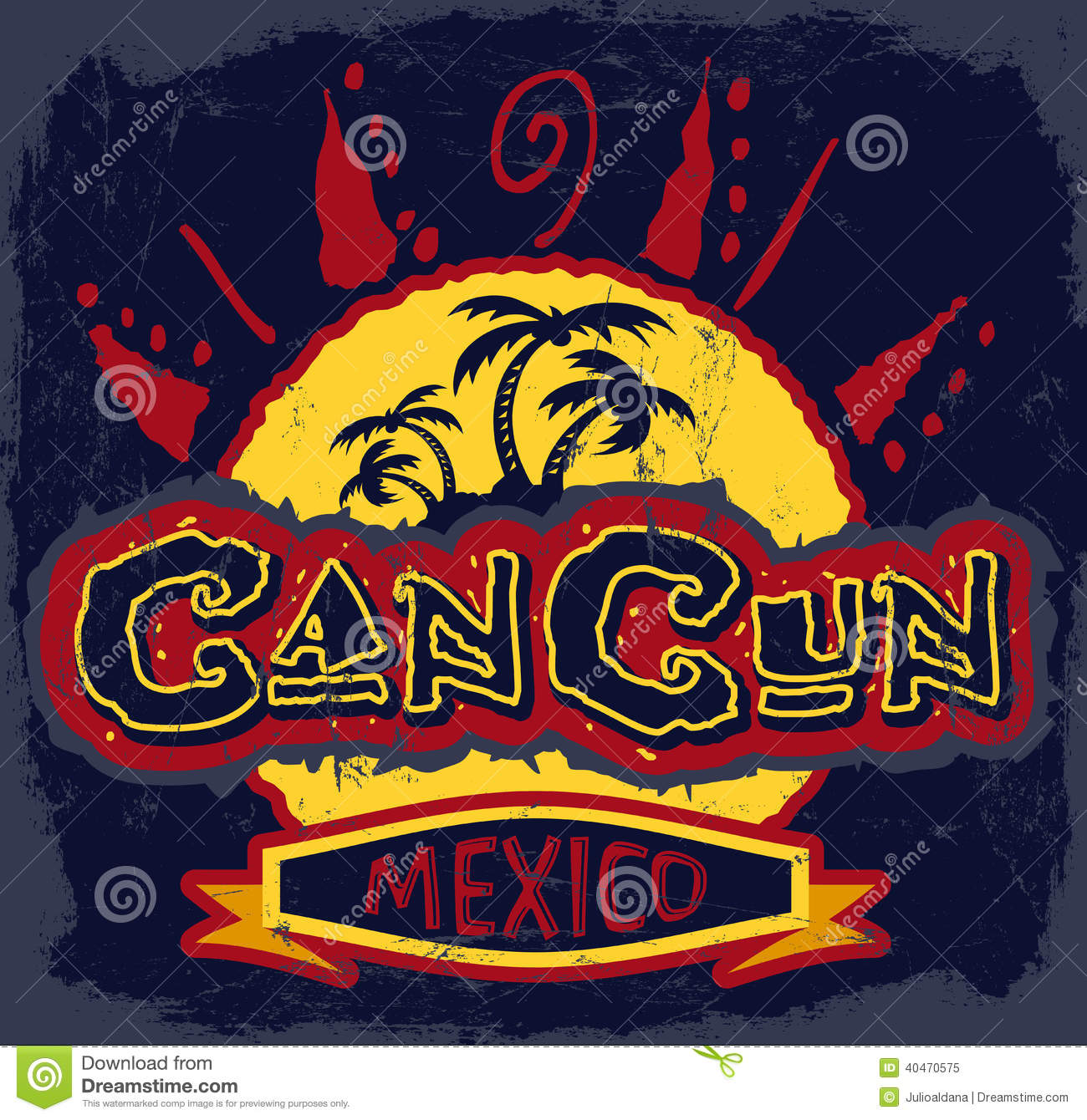 Cancun Mexico Vintage Vector Badge Stock Vector Illustration Of