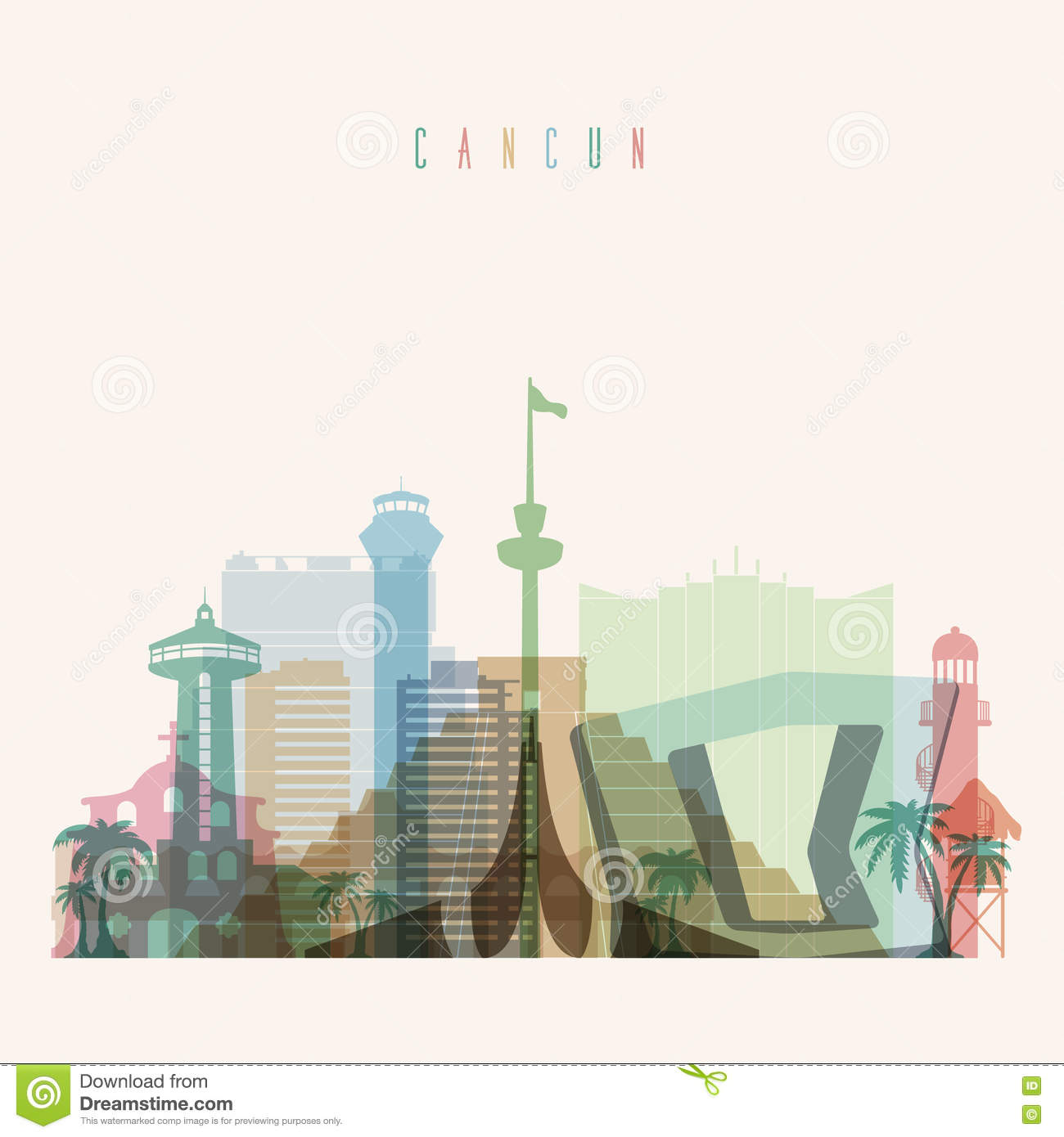 Cancun Skyline Poster Stock Vector Illustration Of Pyramid 81308407