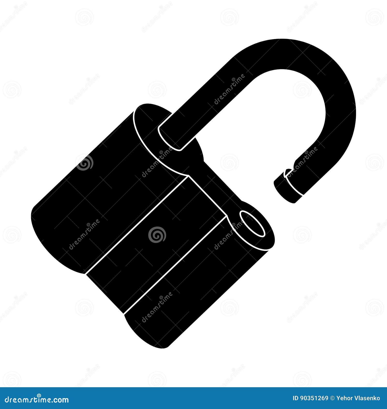 Candado cortado El desafío para que el pionero solucione el crimen Solo icono detective en símbolo del vector del estilo de blake