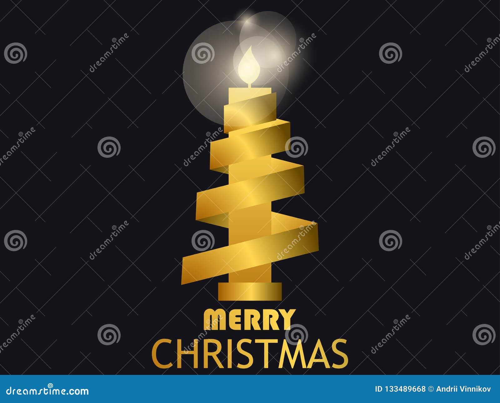 Candela e nastro dell oro di Buon Natale Pendenza dell oro Modello di progettazione della cartolina d auguri Vettore
