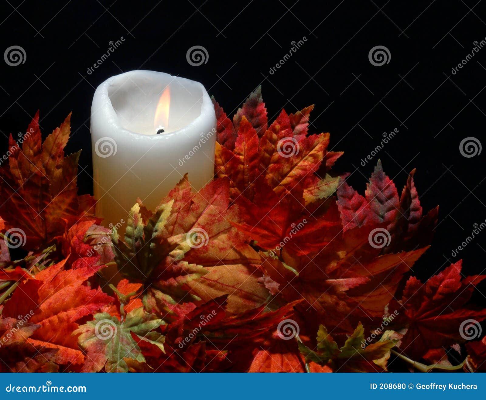 Candela in fogli di autunno