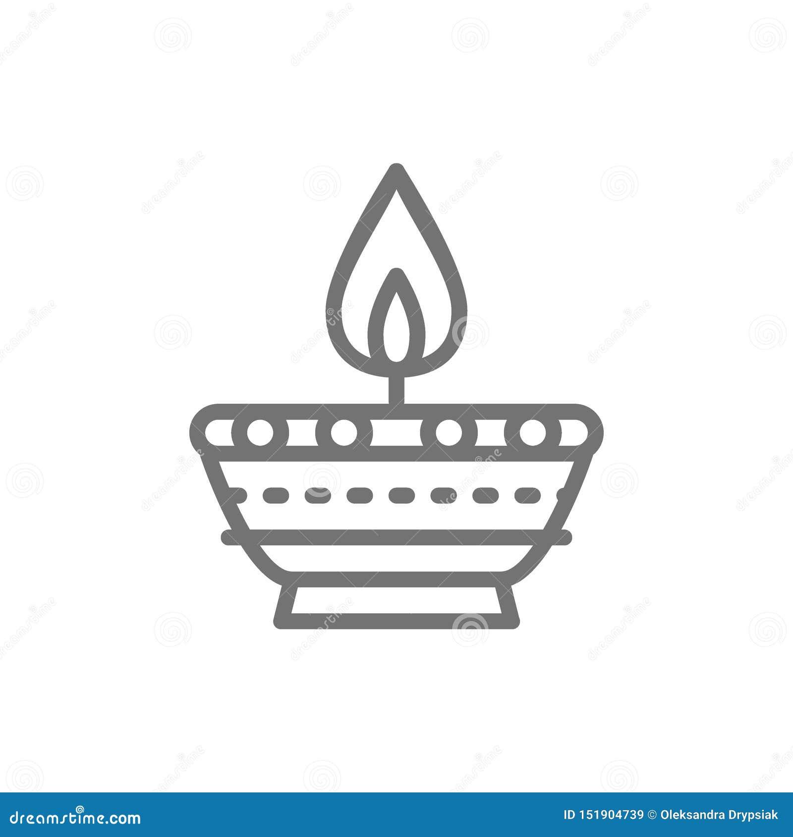 Candela indiana, linea icona della lampada a olio di Diwali Diya
