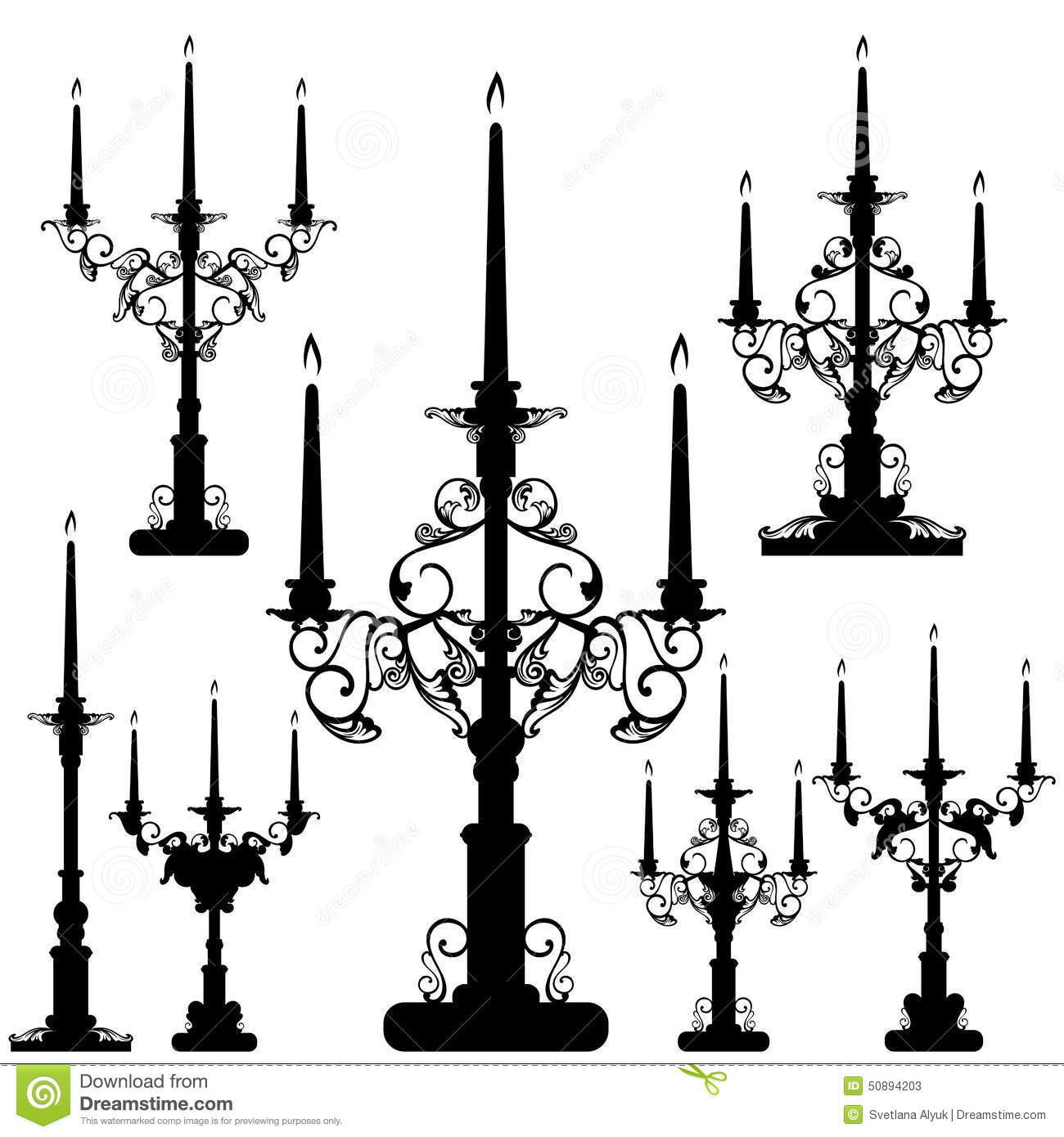Set Of Candelabrum Vector Illustration Cartoondealer Com
