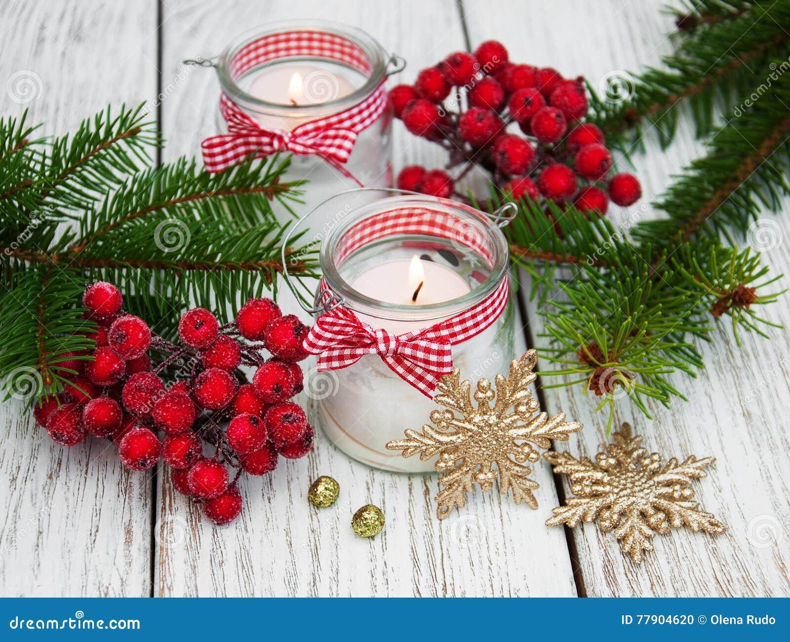 Candele delle decorazioni di natale in barattoli di vetro - Decorazioni vetro ...