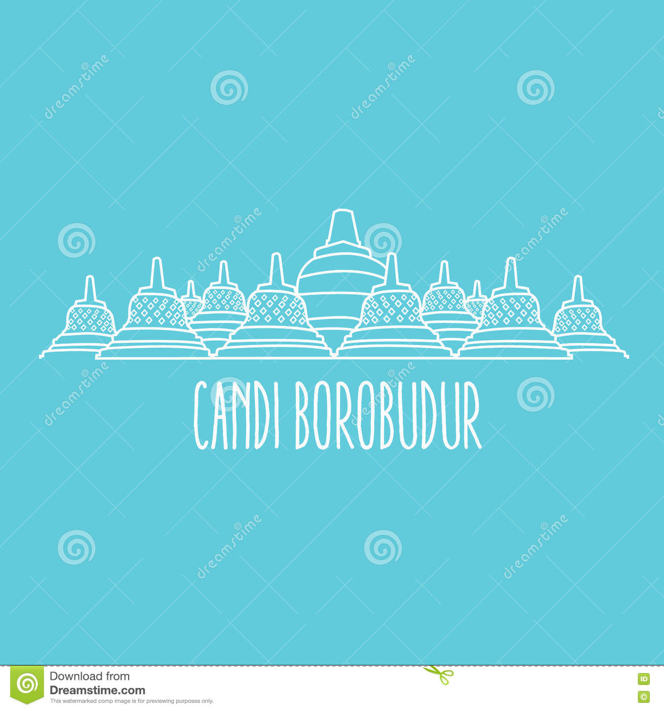 Line Art Java : Candi cartoons illustrations vector stock images